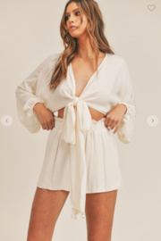 Mable Miley Bubble Sleeve Top + Shorts Set - Front cropped