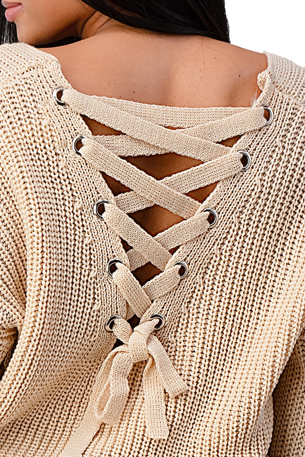 Miley & Molly Long Sleeve Lattice Oversize Pullover Sweater Top - Back Cropped Image