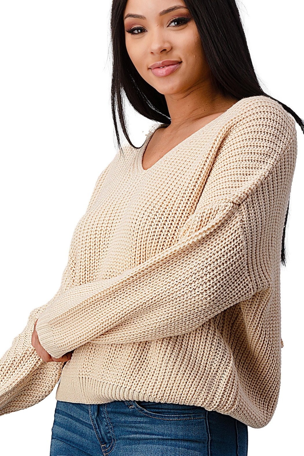 Miley & Molly Long Sleeve Lattice Oversize Pullover Sweater Top - Side Cropped Image