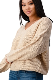 Miley & Molly Long Sleeve Lattice Oversize Pullover Sweater Top - Side cropped