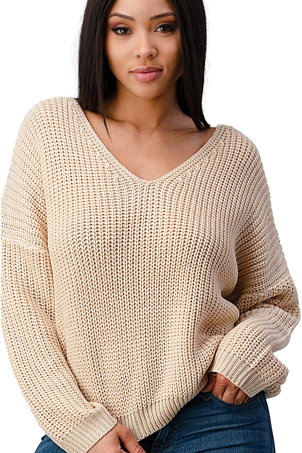 Miley & Molly Long Sleeve Lattice Oversize Pullover Sweater Top - Main Image