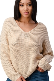 Miley & Molly Long Sleeve Lattice Oversize Pullover Sweater Top - Front cropped