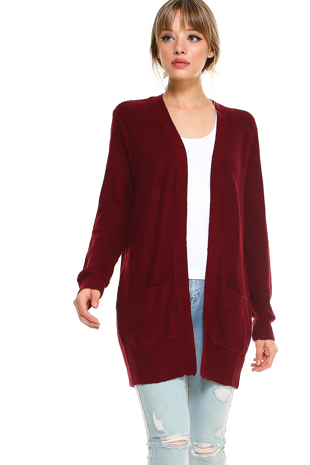 Miley and Molly 2 Pockets Sweater Cardigan For Women - Front Cropped Image