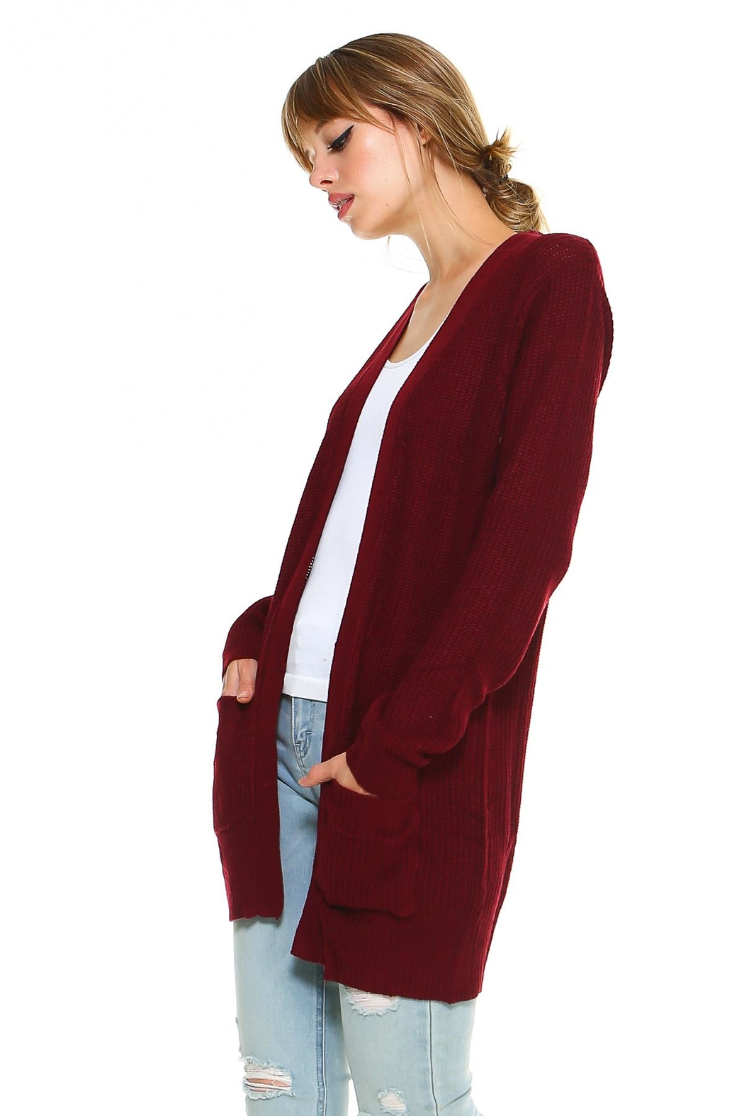 Miley and Molly 2 Pockets Sweater Cardigan For Women - Front Full Image