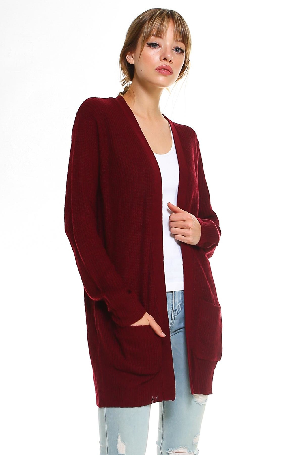 Miley and Molly 2 Pockets Sweater Cardigan For Women - Back Cropped Image