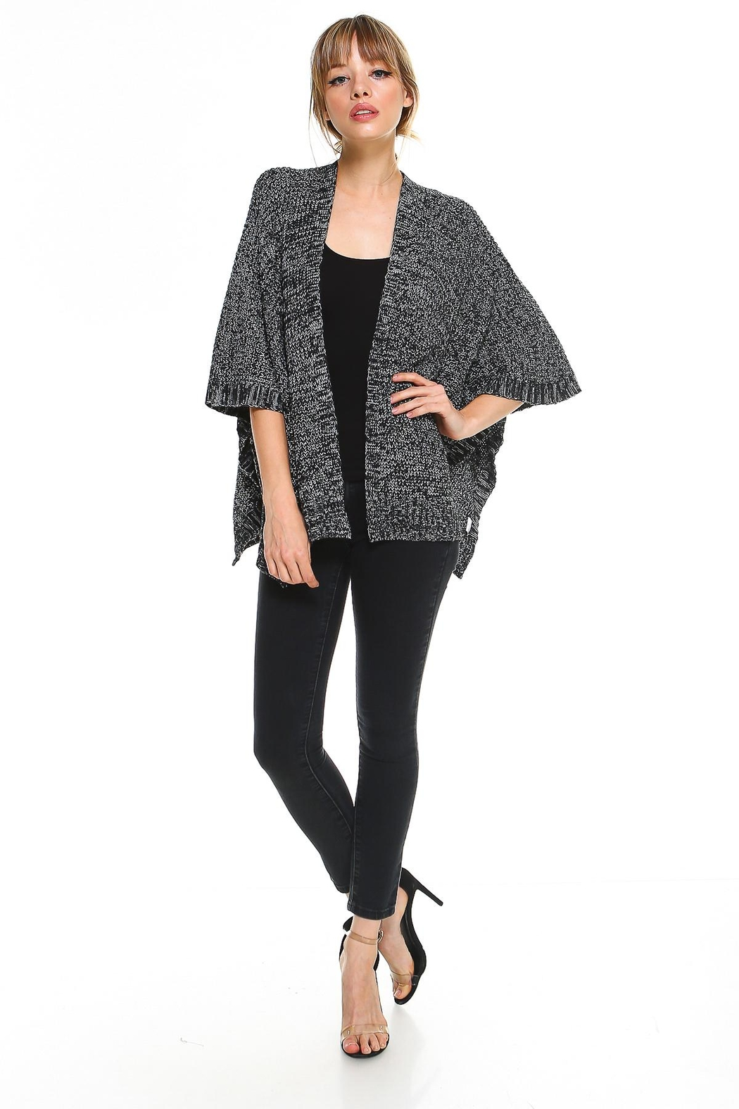 Miley and Molly 2 Tone Hanky Hem Cardigan - Back Cropped Image