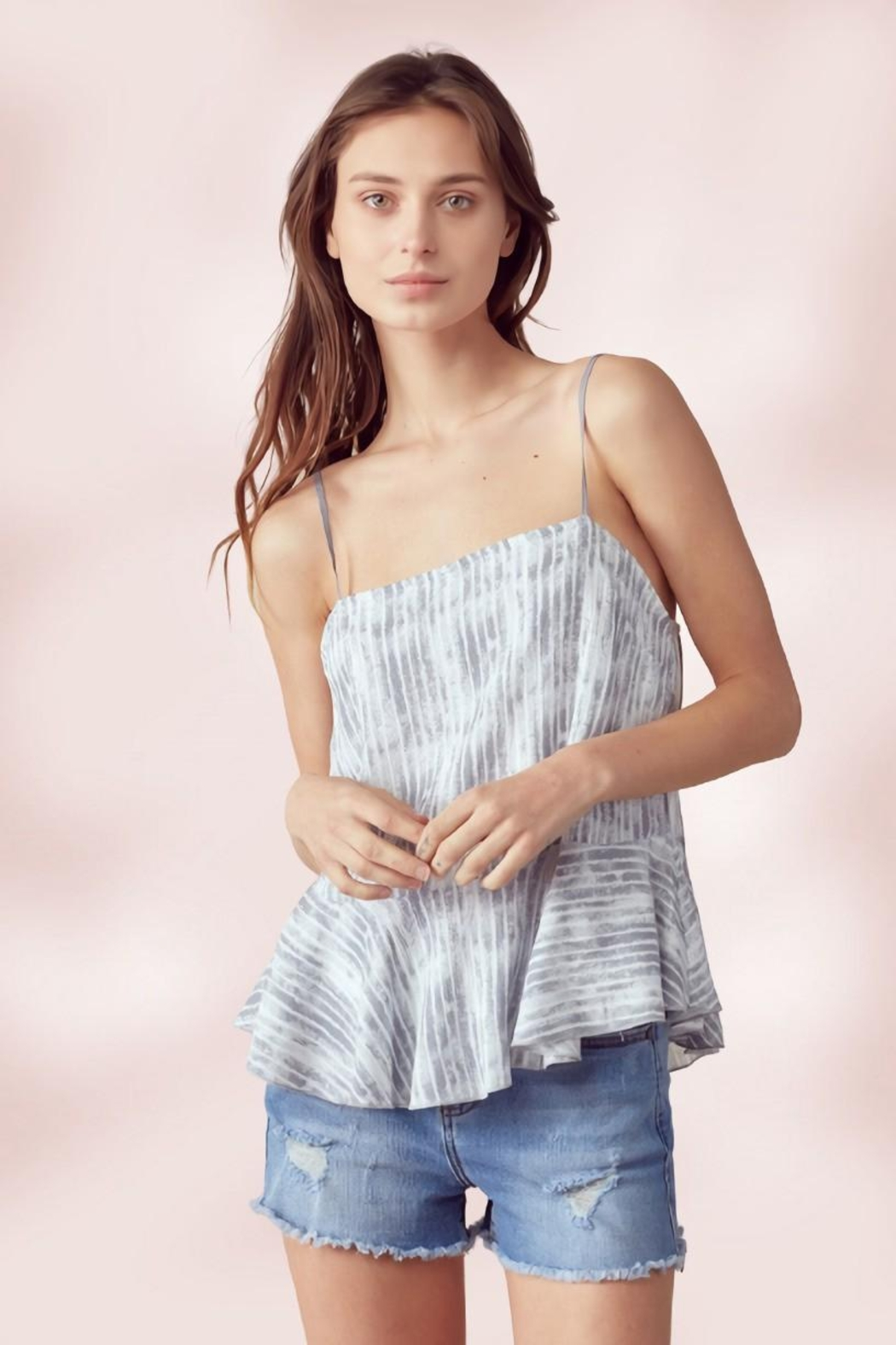 Miley and Molly Adjustable Strap Peplum Cami Top Tie Dye Stripe - Main Image