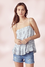 Miley and Molly Adjustable Strap Peplum Cami Top Tie Dye Stripe - Front cropped