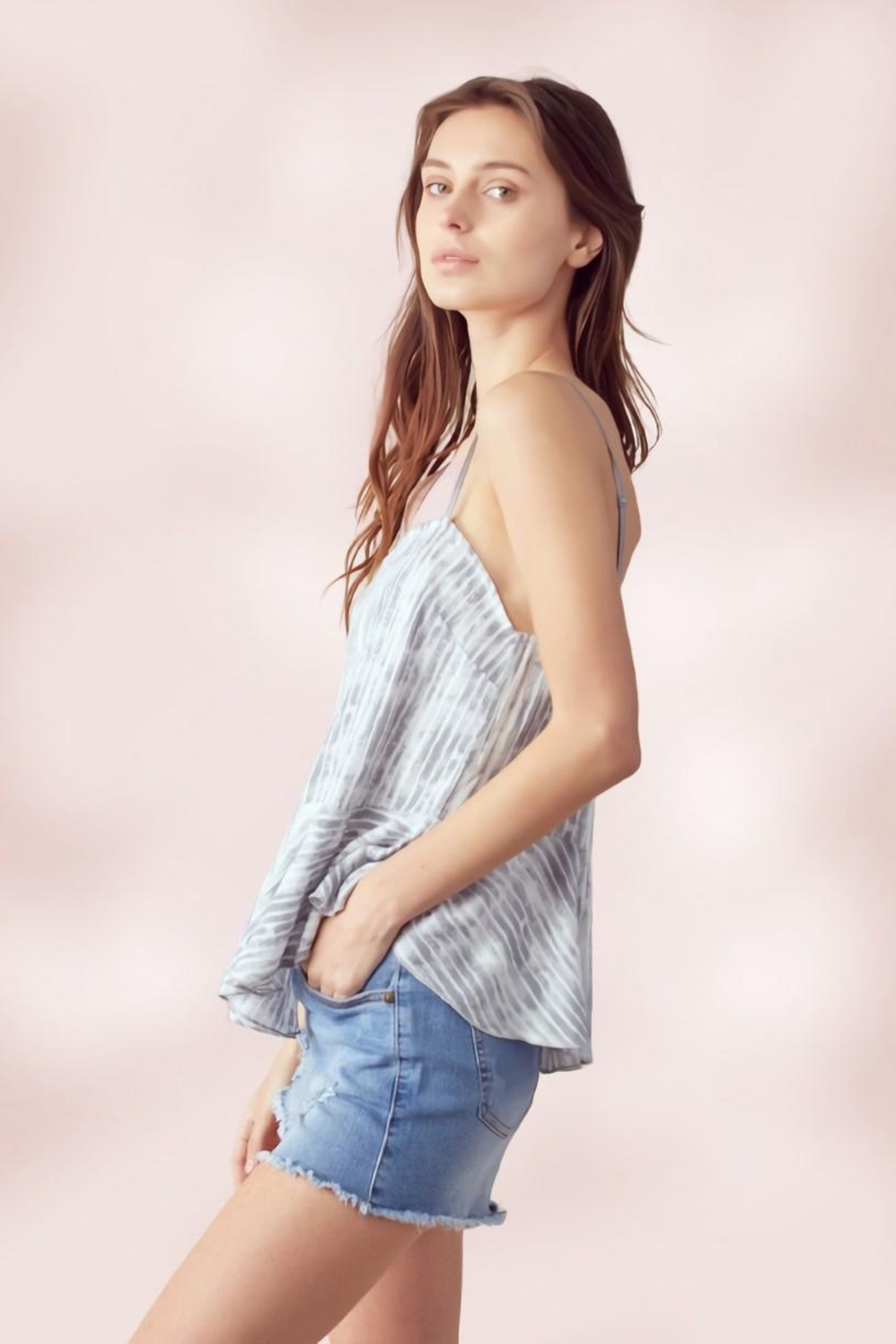 Miley and Molly Adjustable Strap Peplum Cami Top Tie Dye Stripe - Side Cropped Image