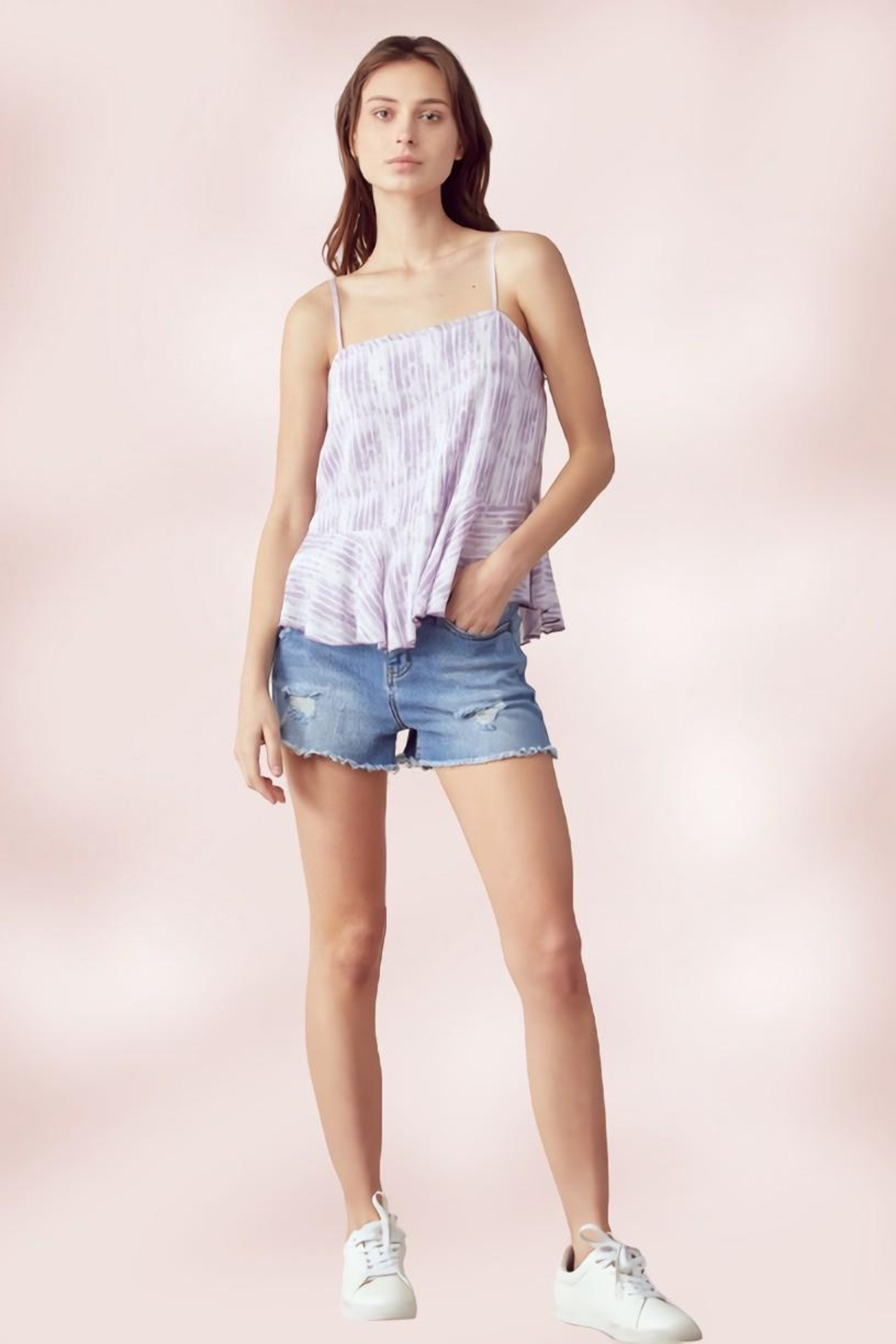 Miley and Molly Adjustable Strap Peplum Cami Top Tie Dye Stripe - Back Cropped Image