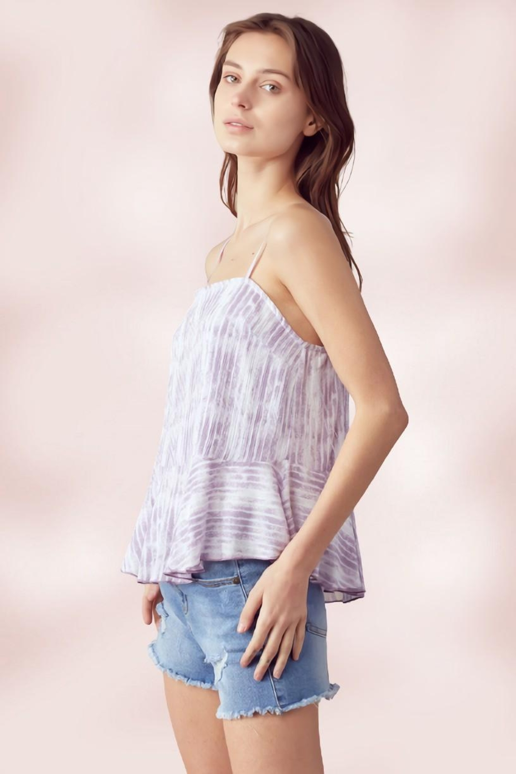 Miley and Molly Adjustable Strap Peplum Cami Top Tie Dye Stripe - Front Full Image