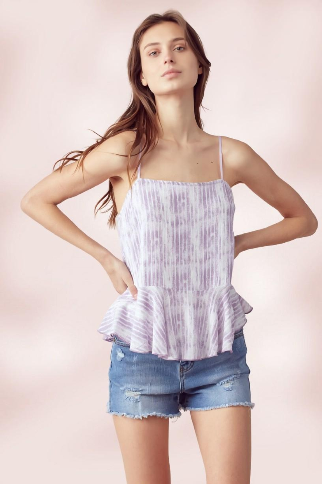 Miley and Molly Adjustable Strap Peplum Cami Top Tie Dye Stripe - Front Cropped Image