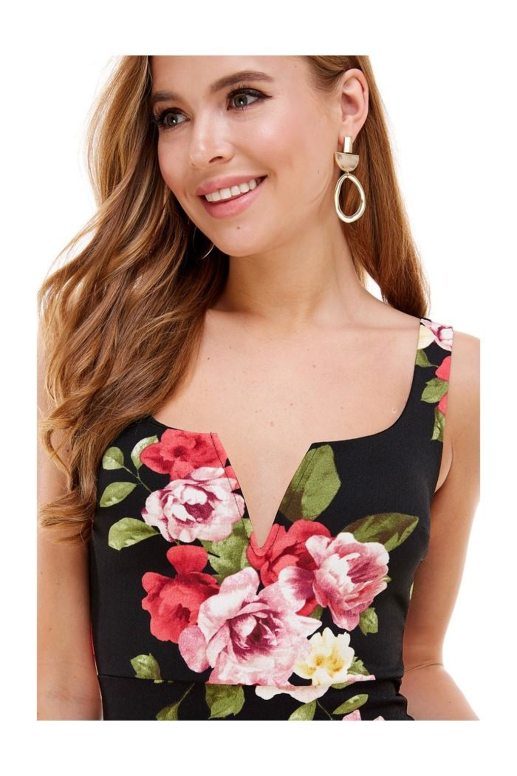 Miley and Molly Big Floral Knit V-Wine Sleeveless Fitted Dress - Front Full Image
