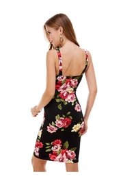 Miley and Molly Big Floral Knit V-Wine Sleeveless Fitted Dress - Side cropped