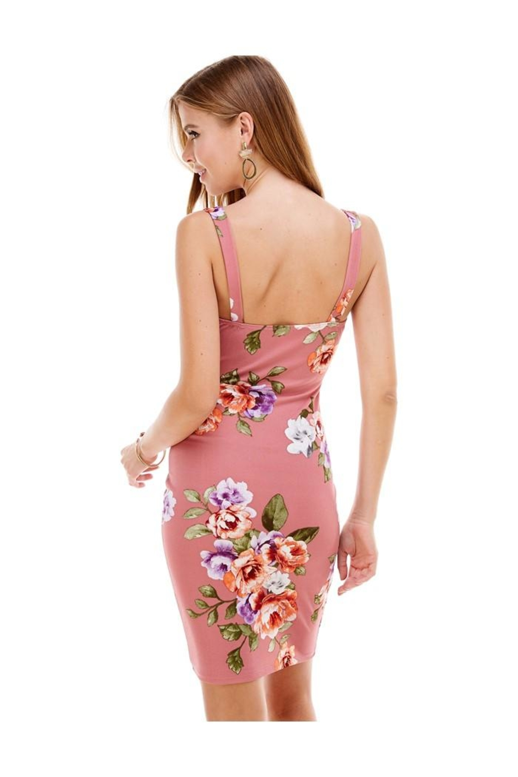 Miley and Molly Big Floral Knit V-Wine Sleeveless Fitted Dress - Back Cropped Image