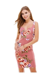 Miley and Molly Big Floral Knit V-Wine Sleeveless Fitted Dress - Product Mini Image