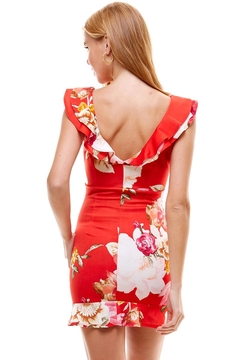Miley and Molly Big Floral Print Ruffle Neck Detail Fitted Dress - Alternate List Image