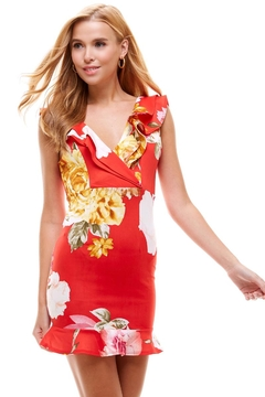Miley and Molly Big Floral Print Ruffle Neck Detail Fitted Dress - Product List Image