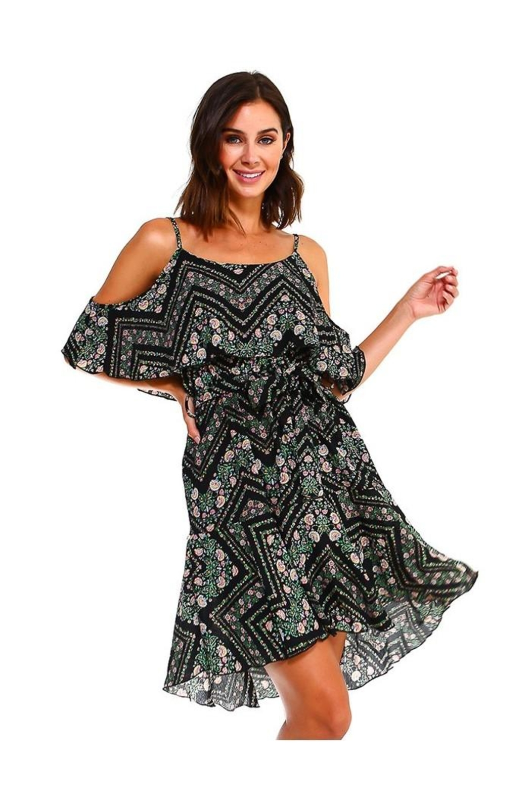 Miley and Molly Blink Floral Print Handy Hem Waist Dress - Front Full Image