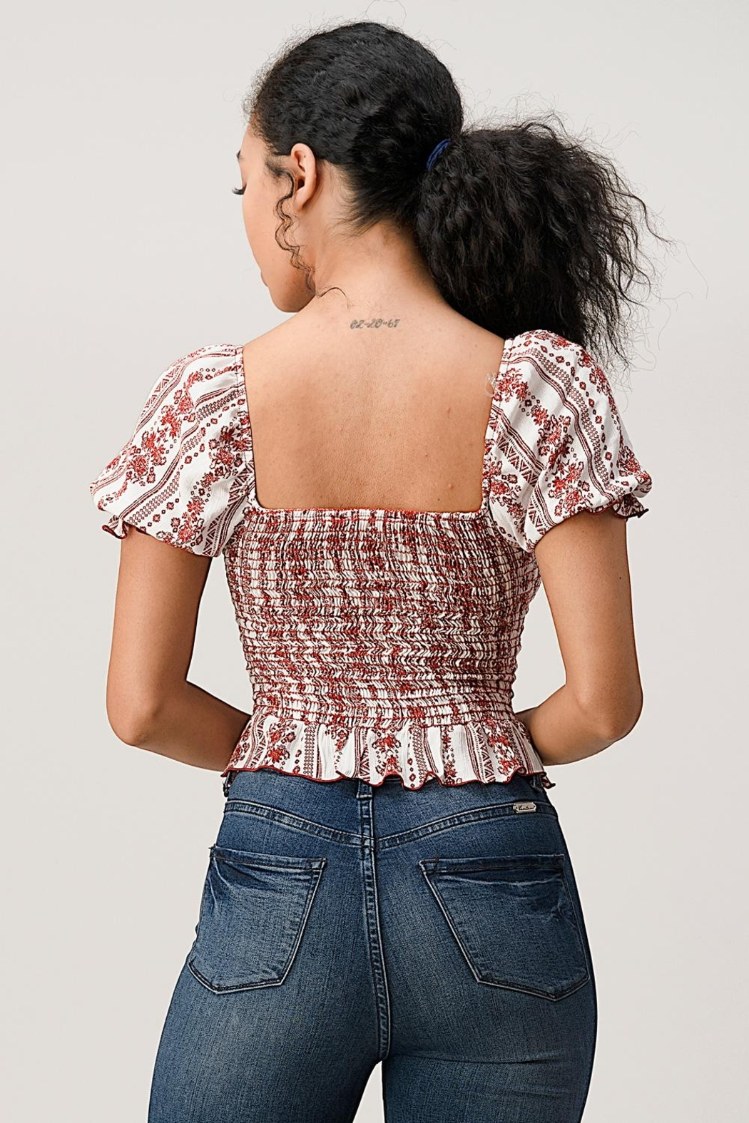 Miley and Molly Boho Puff Sleeve Smock Blouse Top - Back Cropped Image