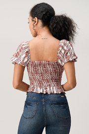 Miley and Molly Boho Puff Sleeve Smock Blouse Top - Back cropped