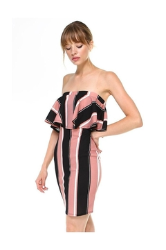 Miley and Molly Bold Stripe Flounce Tube Bodycon Dress - Product List Image