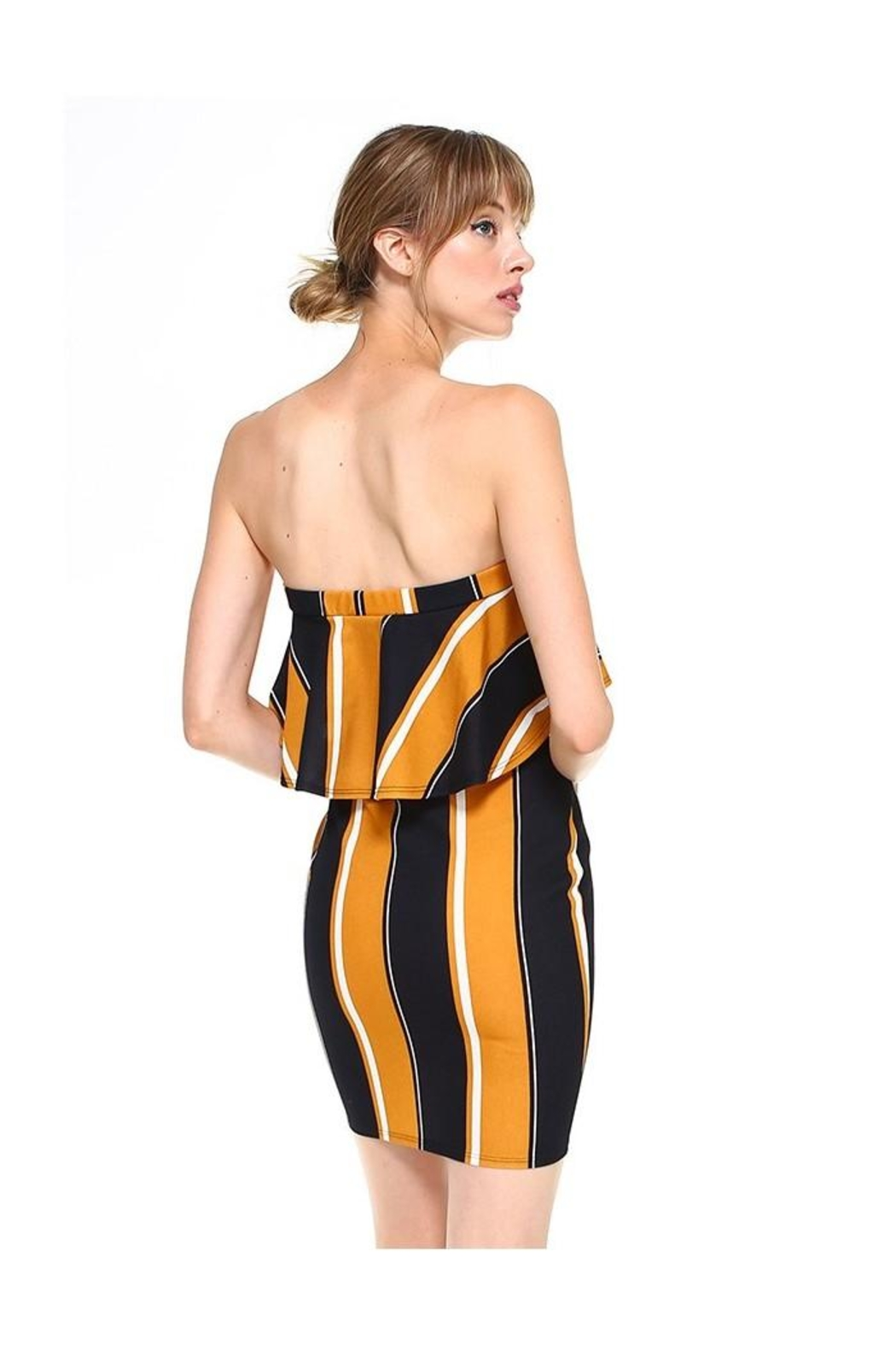 Miley and Molly Bold Stripe Flounce Tube Bodycon Dress - Front Full Image