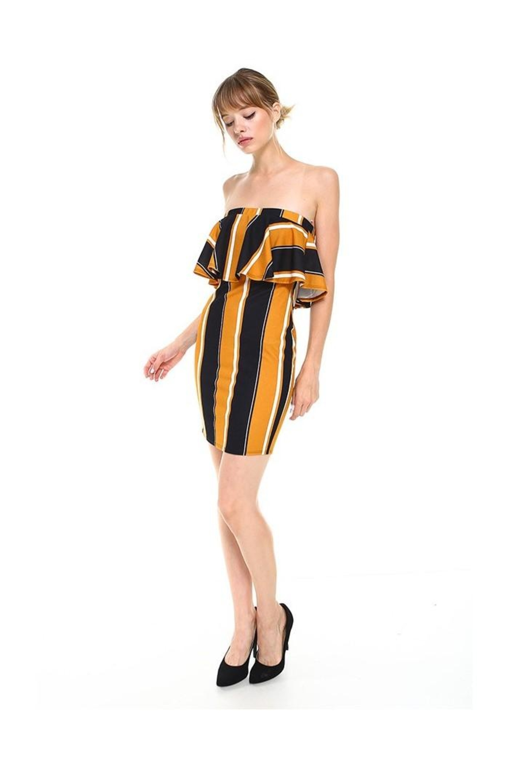 Miley and Molly Bold Stripe Flounce Tube Bodycon Dress - Side Cropped Image