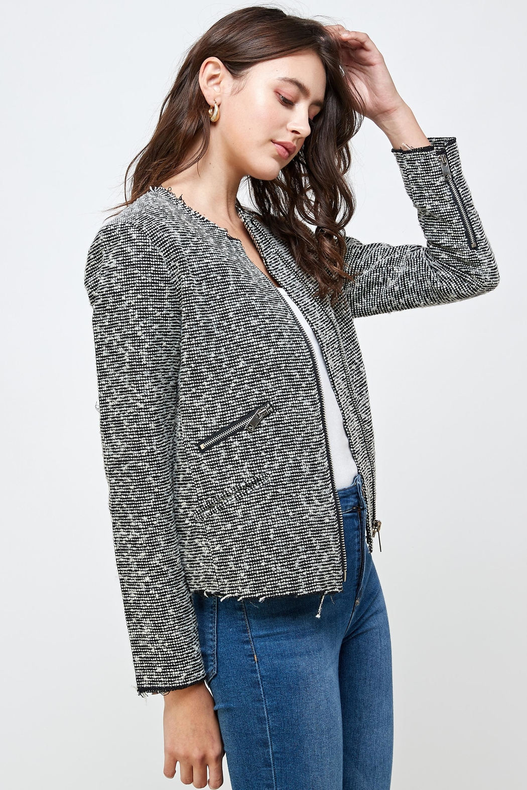 Kaii Boucle Tweed Biker Jacket Top - Side Cropped Image