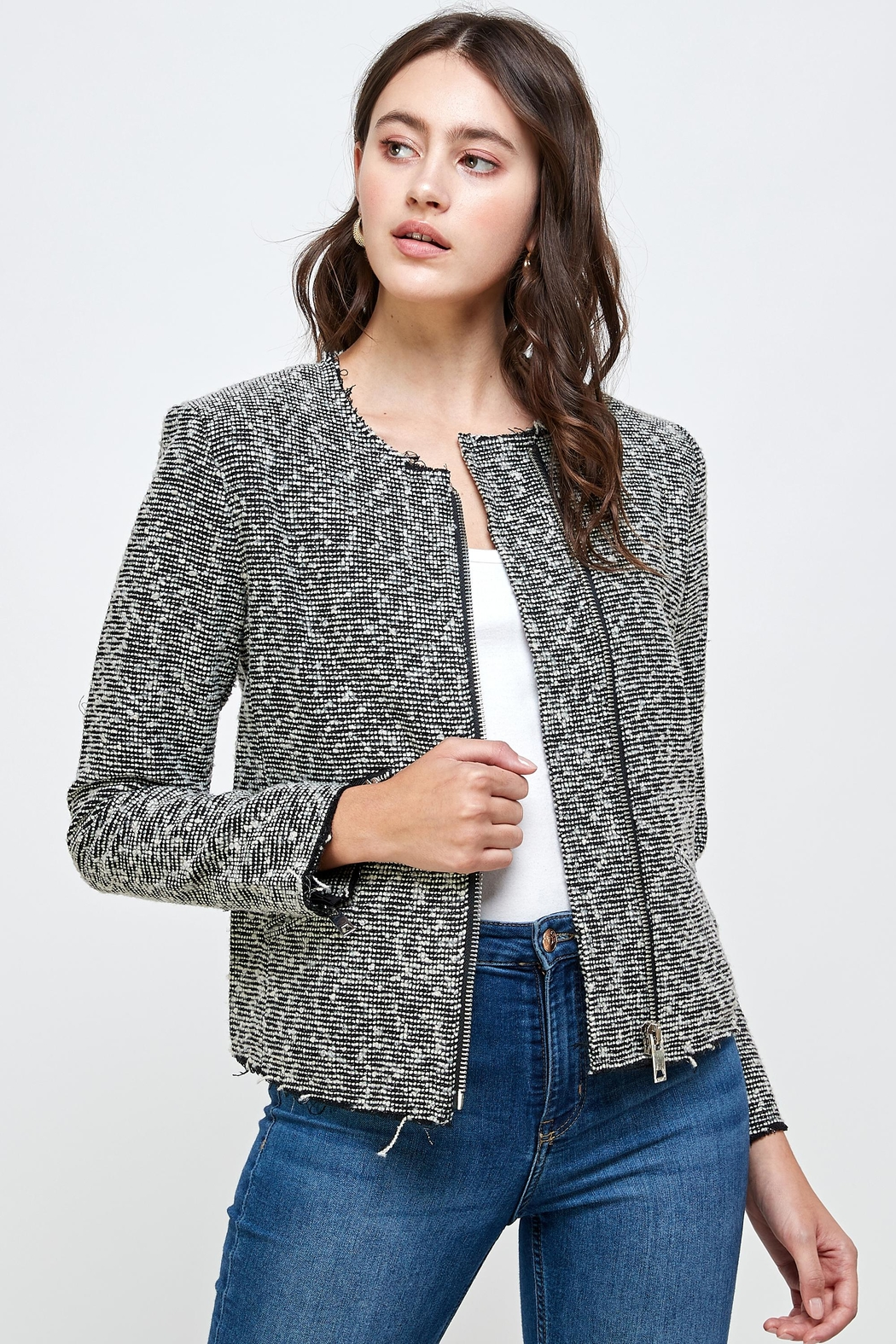 Kaii Boucle Tweed Biker Jacket Top - Main Image