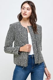 Kaii Boucle Tweed Biker Jacket Top - Front cropped