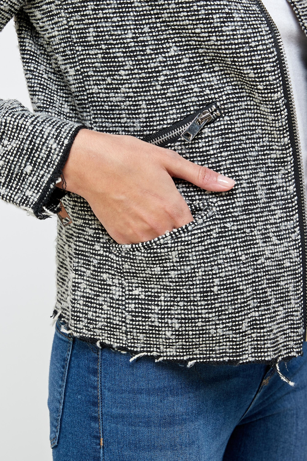 Kaii Boucle Tweed Biker Jacket Top - Back Cropped Image