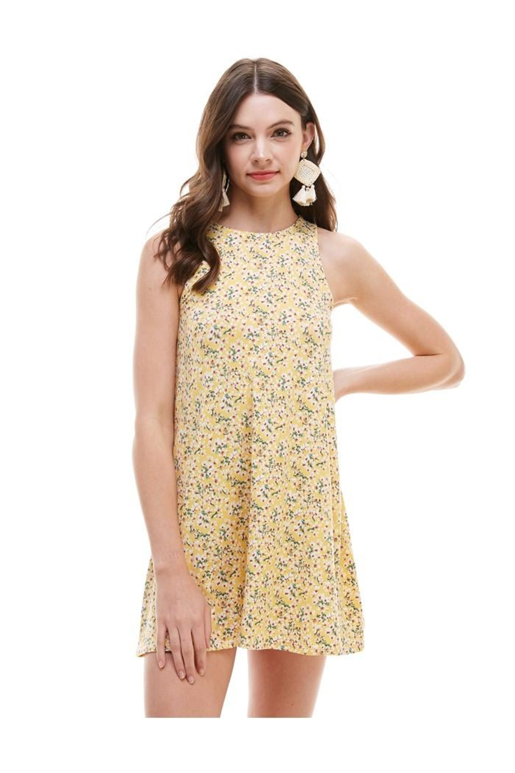 Miley and Molly Brushed Ditsy Floral Muscle Tank A Line Dress - Front Cropped Image