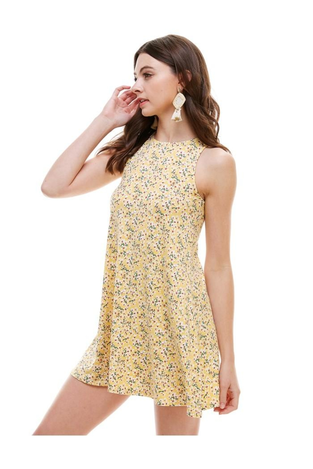 Miley and Molly Brushed Ditsy Floral Muscle Tank A Line Dress - Front Full Image