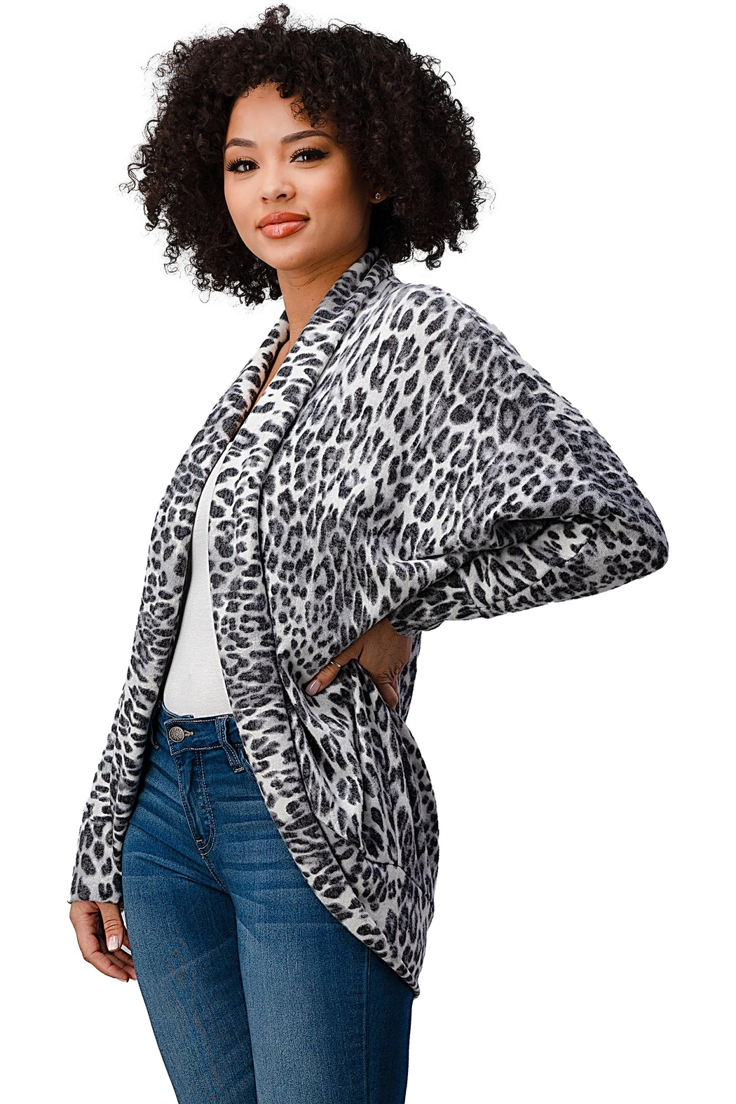 Miley and Molly Brushed Hacci Leopard Printed Cocoon Cardigan - Front Full Image