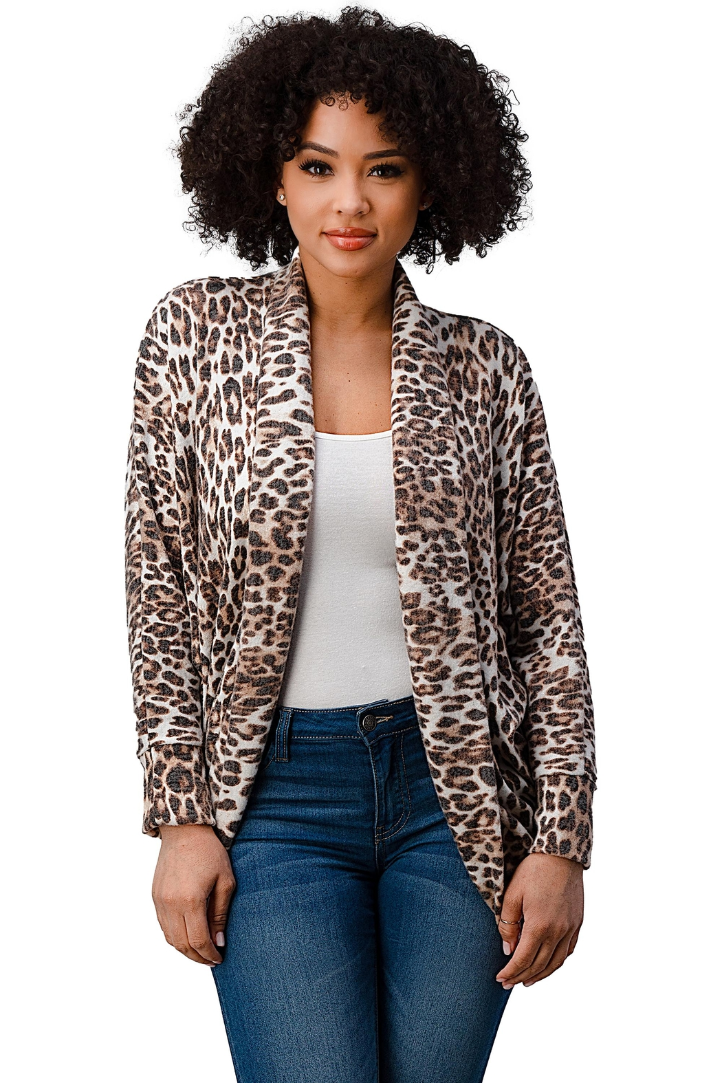Miley and Molly Brushed Hacci Leopard Printed Cocoon Cardigan - Main Image