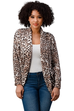 Miley and Molly Brushed Hacci Leopard Printed Cocoon Cardigan - Product List Image