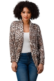 Miley and Molly Brushed Hacci Leopard Printed Cocoon Cardigan - Front cropped