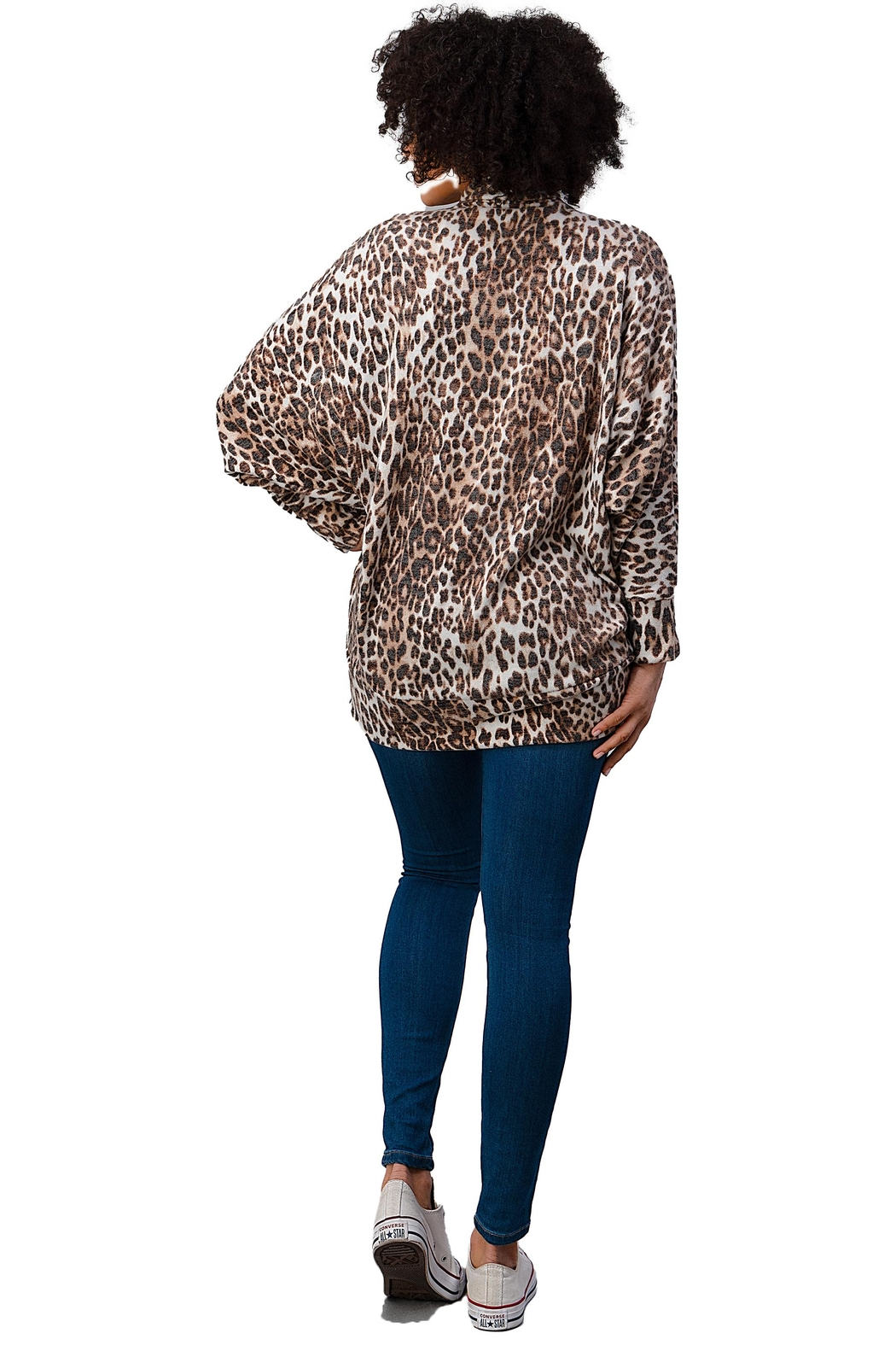 Miley and Molly Brushed Hacci Leopard Printed Cocoon Cardigan - Back Cropped Image