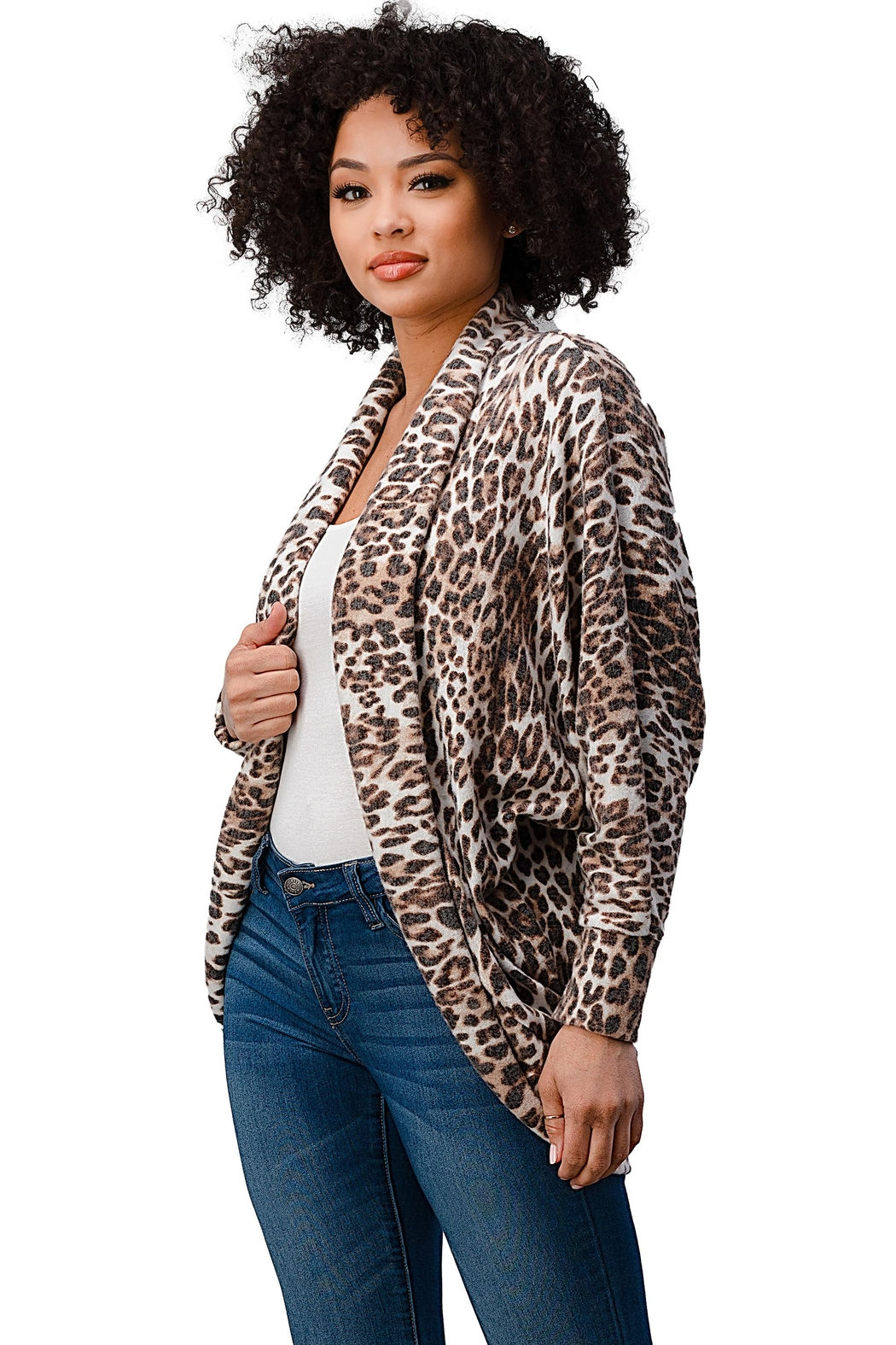 Miley and Molly Brushed Hacci Leopard Printed Cocoon Cardigan - Side Cropped Image