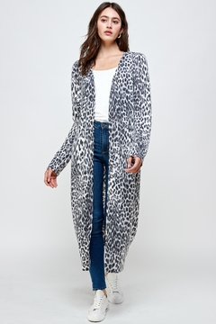Miley and Molly Brushed Haci Leopard Printed Long Duster - Product List Image