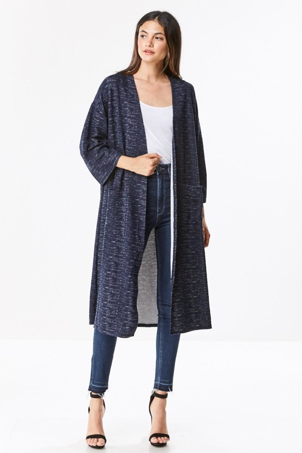 Miley and Molly Brushed Knit Maxi Cardigan - Front Full Image