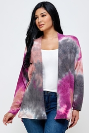 Miley and Molly Brushed Knit Tie Dye Over Size Cardigan - Product Mini Image
