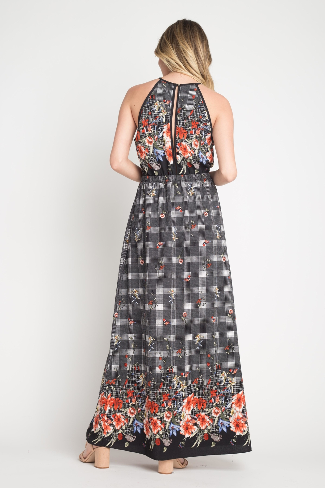 Miley and Molly Bubble Crepe Floral Plaid Print Hi Neck Maxi Dress - Back Cropped Image