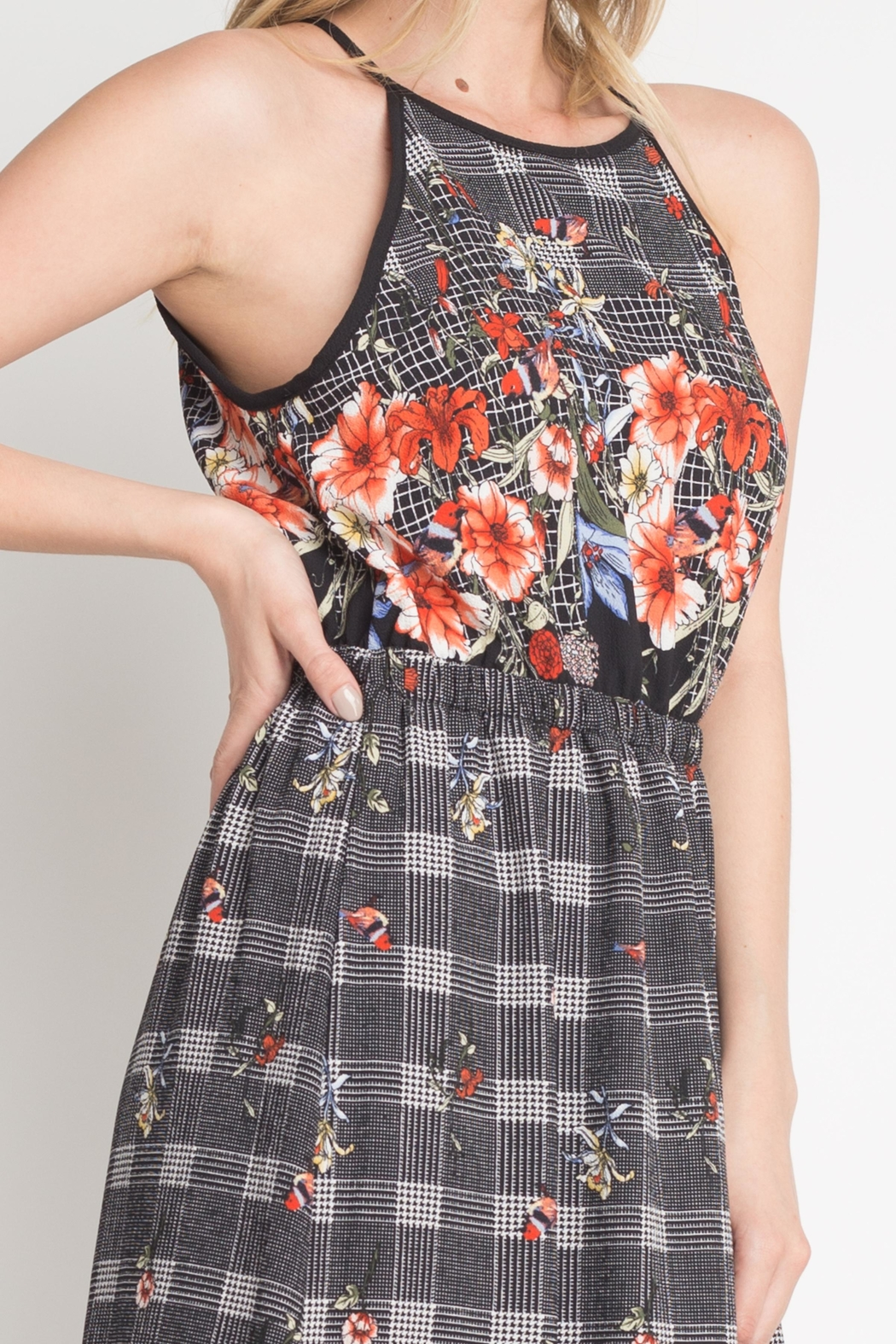 Miley and Molly Bubble Crepe Floral Plaid Print Hi Neck Maxi Dress - Side Cropped Image