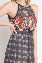Miley and Molly Bubble Crepe Floral Plaid Print Hi Neck Maxi Dress - Side cropped
