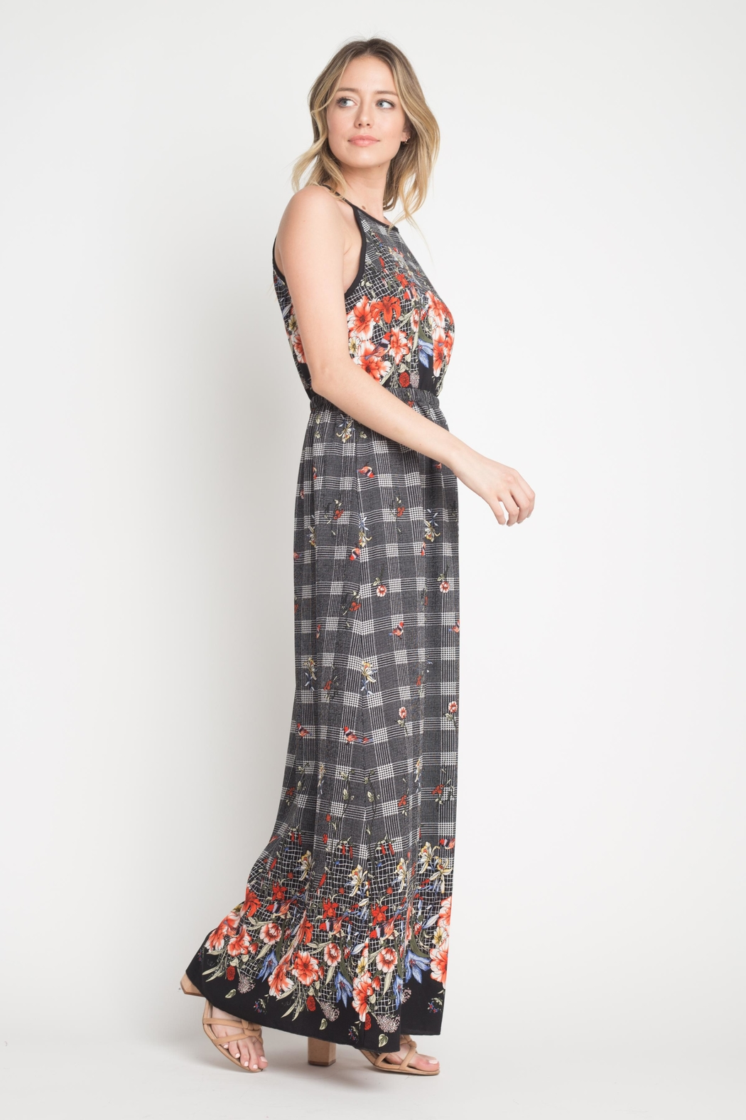 Miley and Molly Bubble Crepe Floral Plaid Print Hi Neck Maxi Dress - Front Full Image