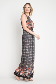 Miley and Molly Bubble Crepe Floral Plaid Print Hi Neck Maxi Dress - Front full body