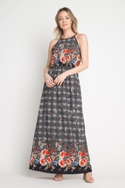 Miley and Molly Bubble Crepe Floral Plaid Print Hi Neck Maxi Dress - Product Mini Image
