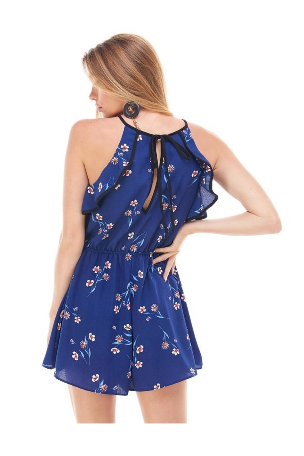 Miley and Molly Bubble Crepe Floral Print Romper - Side Cropped Image